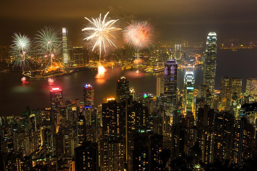 43612600 - fireworks at victoria harbour, victoria peak, hong kong